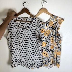 Patterned tank blouses set of two loft outlet LP